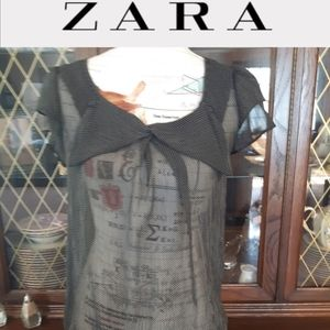 zara Basic sheer white black polka dotted blouse